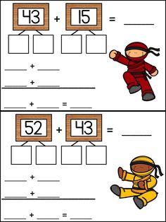 add tens and add ones, two-digit addition without regrouping, math center, first. Teaching First Grade, 1st Grade Math, Teaching Math, Math Work, Fun Math, Math Classroom, Kindergarten Math, Math Resources, Math Activities