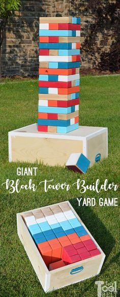 DIY Yard Game-Giant Block Tower Builder Make your own Giant Block Tower Builders yard game with a carrying crate that doubles as a playing stand. Add colored dice for a fun roll 'n go option to mix things up. Free plans to make yard game. Outdoor Yard Games, Diy Yard Games, Diy Games, Backyard Games, Yard Games For Kids, Outdoor Games For Adults, Outdoor Twister, Giant Outdoor Games, Diy Outdoor Toys