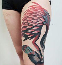 Trash polka style flamingo done by @marineperez | www.otziapp.com Flamingo Tattoo, Tattoo Spirit, Trash Polka, Tribal Tattoos, Cute, Portugal, Spain, Deep, Cartoon