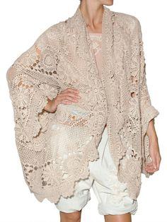 Mes Demoiselles Jean-Lud Crochet Cardigan in beige Knitted Poncho, Crochet Cardigan, Crochet Lace, Crochet Dresses, Finger Crochet, Boho Inspiration, Textiles, Pullover Sweaters, Kimono Top