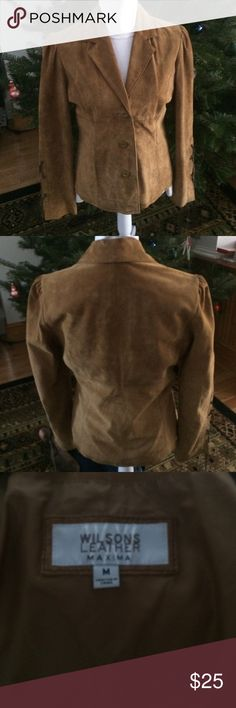 Suede Home on The Range Jacket Fun brown suede jacket by Wilson Leather. Fully lined with inside buttoning pockets. Leather raw hide ties on sleeves! Excellent Pre loved condition. Women's size medium. Wilsons Leather Jackets & Coats