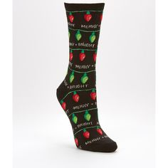 Hot Sox Christmas Light Crew Socks ($6) ❤ liked on Polyvore featuring intimates, hosiery, socks, opaque, women, crew length socks, christmas socks, hot sox, hot sox socks and crew socks
