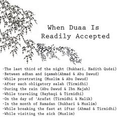 When duaa is readily accepted.