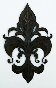 Louis XVI Fleur-de-Lis Handcrafted Metal Wall Sculpture - Wrought Iron Wall Decor