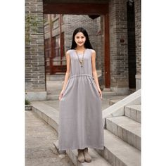 Linen Dress Maxi Dress Casual Loose Dress Sundress Party Dress... (1 450 UAH) ❤ liked on Polyvore featuring dresses, grey and women's clothing