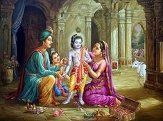 Krishna with Family - by V. Lord Krishna Images, Radha Krishna Pictures, Radha Krishna Photo, Krishna Photos, Krishna Birth, Baby Krishna, Cute Krishna, Yashoda Krishna, Jai Shree Krishna