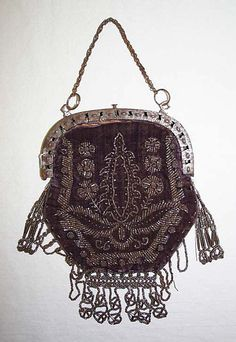 19th century Italian beaded silk bag