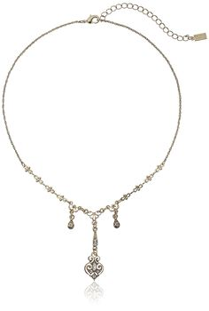 Downton Abbey 'Gilded Age Boxed' Gold-Tone Edwardian Triple Drop Elaborate Center Pendant Necklace, 16' *** Click on the image for valentines gift ideas.