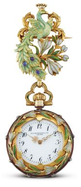 Patek Philippe A YELLOW GOLD, ENAMEL AND GEM-SET OPEN-FACED PENDANT WATCH MVT 110623 CASE 224362 MADE IN 1898 Estimate 100,000 — 200,000 HKD ||| sotheby's hk0789lot9rs2xen