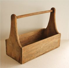 Large Vintage Wooden Tool Box, Carrying Basket