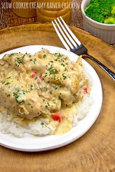 Slow Cooker Creamy Ranch Chicken With Boneless Skinless Chicken Thighs, Cream Of Chicken Soup, Ranch Dressing, Water, Red Bell Pepper, Cream Cheese, Grated Parmesan Cheese