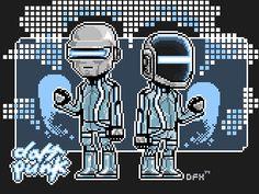Daft Punk - pixel art - TRON version by ionrayner.deviantart.com on @deviantART