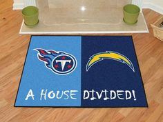 "NFL - San Diego Chargers - Tennessee Titans House Divided Rugs 34""x45"""