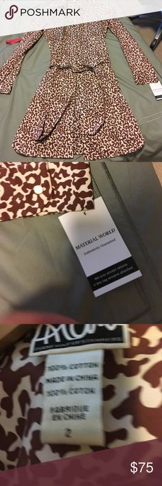Diane von Furstenberg animal print shirt dress Diane von Furstenberg animal print shirt dress. Gold buttons. Belt included. Certificate of authenticity pictured. Never worn condition. 100% cotton. Size 2. Diane von Furstenberg Dresses Long Sleeve