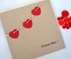 Bella tarjeta de San Valentín de @Yarisi Rosado Valentines Day Card   I Love You by yarisiandco on Etsy, $4.25