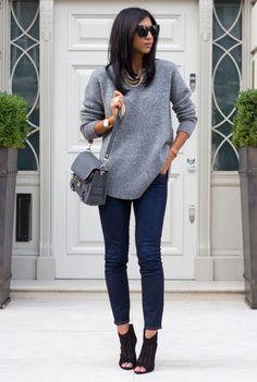 вязаная мода, модные тренды, вязаный джемпер серого цвета, узкие джинсы, street style, MsKnitwear (фото 5)