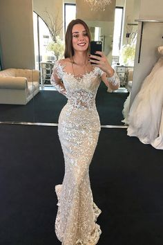 2019 Scoop Long Sleeves Lace Wedding Dresses With Beads Sweep Train, SJS, This dress could be custom made, there are no extra cost to do custom size and color. Wedding Dresses Near Me, Gorgeous Wedding Dress, Wedding Gowns, Lace Wedding, Wedding Venues, Prom Gowns, Mermaid Wedding, Mermaid Prom Dresses, Flower Girl Dresses
