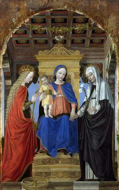 """The Virgin and Child with Saints"" (Santa Caterina d'Alessandria e Santa Caterina da Siena) by Ambrogio Bergognone (c.1490)"