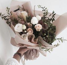 blush pink and green bouquet, floral arrangement, flowers via My Flower, Fresh Flowers, Beautiful Flowers, Flower Power, Pink Flowers, Flower Colour, Flower Truck, Brown Flowers, Elegant Flowers