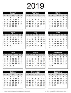 Download A Free Printable 2019 Yearly Calendar From Vertex42 Com