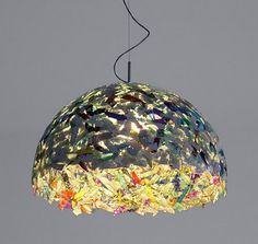 Pendant light by YeaYea made out of recycled CDs.