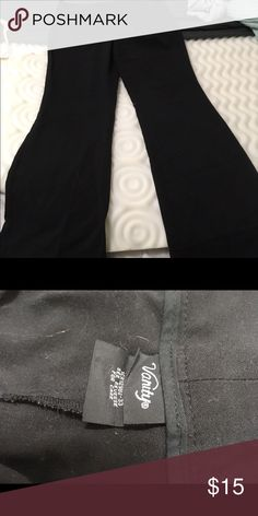 Black trousers Black wide leg trousers. Fit well in the legs then slight widening on the bottom, great with heels.  In good condition just wrinkled from being in my closet. Vanity Pants Trousers