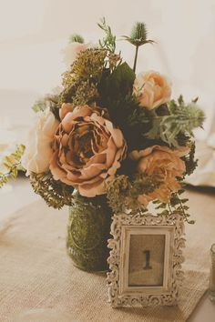 Rustic Wedding Centerpiece - Grey, Peach & Creme Rustic Cross Creek Ranch Wedding - Tampa Wedding Photographer Stacy Paul Photography