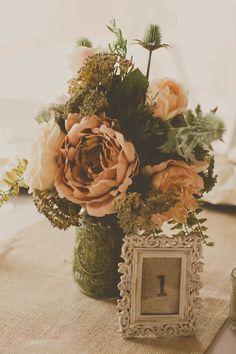 Rustic Wedding Centerpiece - Grey, Peach & Creme Rustic Cross Creek Ranch Wedding - Tampa Wedding Photographer Stacy Paul Photography