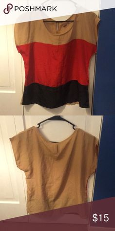Color Block Blouse Tan, red, and black color blocked blouse! I've actually never worn it, but received it second hand from a friend. In excellent condition. Ali & Kris Tops Blouses