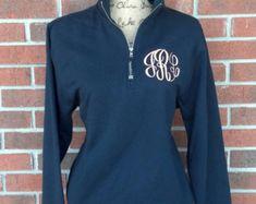Monogrammed Quarter Zip Sweatshirt with by SweetBelleEmbroidery