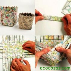 woven paper containers - try chips bags too