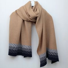 Chevron wrap in camel, navy and grey. Perfect for winter or as a summer wrap in the evenings.