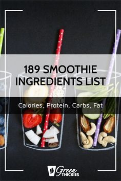 This incredibly useful smoothie ingredient list helps you plan the calories, protein, carbs, and fat in your smoothies. Print this out as you'll use it daily. Smoothie Recipe Book, Smoothie Prep, Fruit Smoothie Recipes, Smoothie Ingredients, Make Ahead Smoothies, Good Smoothies, Breakfast Smoothies, Raw Vegan Smoothie, Protein Fruit
