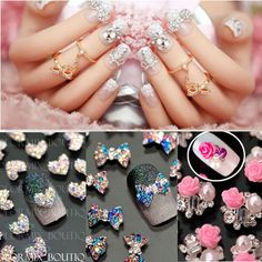 10X BOW TIE Rhinestone 3D Nail Art Tips Decoration BOW KNOT GLITTER GEM CRYSTAL  #Unbranded