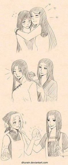 I absolutely love this! Hinata and Kushina, TenTen and Neji's mom (don't know her name), and Sakura and Mikoto.