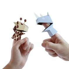 Paper Puppets by Héctor Serrano for NPW. Let your fingers do the talking...Just bend a finger to open and close the mouth! Each puppet is printed and pre-cut from card. Easy to assemble.