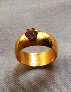 $5.00 Goldtone Size 7 ½ (approx.) Seta Solitaire Ring (53116-2514) jewelry, fashion #Seta