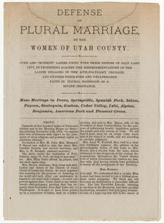 """US National Archives Exhibits • The """"True Women of Utah"""" were Mormons who believed..."""