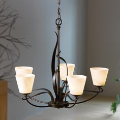 Flora 5 Arm Chandelier by Hubbardton Forge Square Chandelier, Lantern Chandelier, Chandelier Shades, Chandelier Lighting, Cleveland, Flora, Wrought Iron Chandeliers, Transitional Decor, Bellini