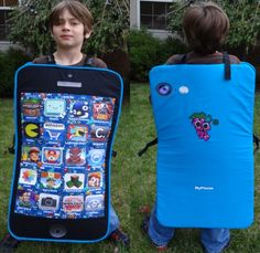 blue cell phone costume with wallpaper