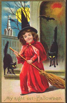 Adorable Little Red Witch Halloween Vintage Postcard Black Cats Full Moon Vintage Halloween Images, Halloween Pictures, Victorian Halloween, Vintage Holiday, Vintage Images, Holidays Halloween, Halloween Fun, Halloween Festival, Halloween Season