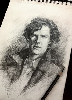 """By Alice X. Zhang: """"A straightforward sketch of Sherlock. Pencil on 9x12"""" Canson Drawing paper. If you'd like to purchase the original ($150), send me an ask. :)""""   So, so lovely. Wish I could splurge on it."""