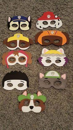 Paw Patrol MASKS, Party Birthday Favors, Tracker, Skye, Chase, Marshal, Rubble, Rocky, Ryder, Everest, Zuma by Unique2YouGifts on Etsy https://www.etsy.com/listing/264917681/paw-patrol-masks-party-birthday-favors