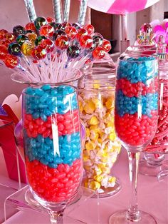 Candy Buffet n pinks and blues Annette,I LUV this. Sweet 16 Parties, Holiday Parties, Hollywood Candy, Bar A Bonbon, Candy Boutique, Candy Favors, Candy Party, Candy Store, Apothecary Jars