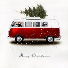 I'm in love with this little Christmas illustration. I've always wanted a VW bus.