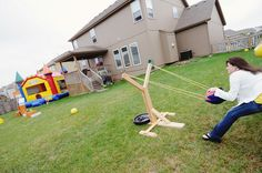 LOVE this idea for life-size Angry Birds slingshot.  Something tells me I'd regret it though...