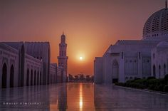 Oman | Sultan Qaboos Grand Mosque at sunset. credit: Basel Almisshal. view on Fb https://www.facebook.com/OmanPocketGuide #oman #traveltooman