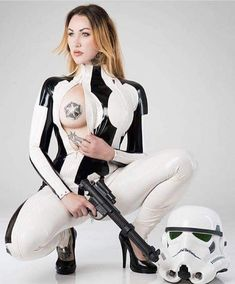 """elegyellem: """"So… who´s seeing the new Star Wars movie ? :) here is something from me and Marcus G photo in my favorite Stormtrooper getup by House of Harlot custommade for me Girl Costumes, Cosplay Costumes, Latex Cosplay, Star Wars Girls, Space Girl, Funny Sexy, Star Wars Humor, White Women, Stars"""