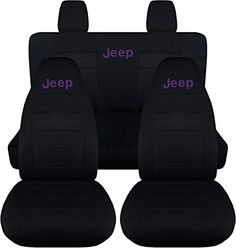 Jeep Wrangler JK (2011 to 2015) Black Seat Covers with Jeep: Black with Purple - Full Set (14 Colors Available) Designcovers http://www.amazon.com/dp/B00PUKOSZI/ref=cm_sw_r_pi_dp_aalvwb18G6GQF