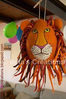 How to make a papier-mache lion piñata